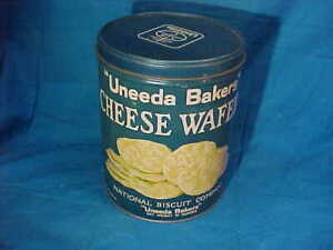 1920s UNEEEDA BAKERS CHEESE WAFER Advertising TIN w Lid National Biscuit Co