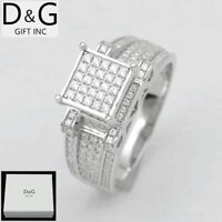DG Women's 925 Sterling Silver,CZ Iced-Out Eternity Wedding Ring 6 7 8 9 10*Box