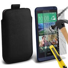 piel sintética negra Funda Deslizable Con Lengüeta & Vidrio para HTC Desire 610