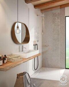 oval wall mirror natural wood veneer teak 50 х 75