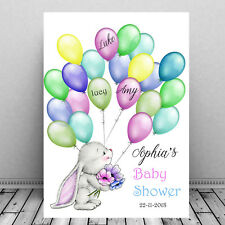 Baby Shower custom - Personalized Guest Print SIgn In  - Bunny Balloons  Fun