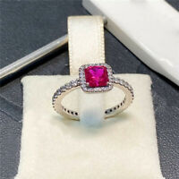 100% 925 Sterling silver Timeless Elegance Ring, Red Clear CZ Size 5 6 7 7.5 8.5