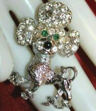 Fun Unsigned Retro Poodle Pin With Rhinestones Missing One Stone - Easy Fix