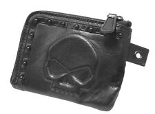 Harley-Davidson Mens Willie G Skull Black Studs Zippered Leather Wallet