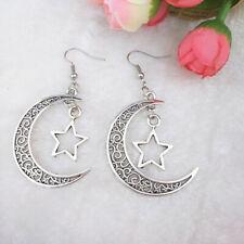 Handmade silver Moon Pentagram earrings  friend gift