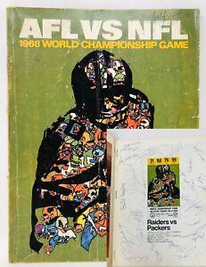 40+ TEAM SIGNED: AFL vs NFL 1968 Championship Program Packers Raiders Super Bowl