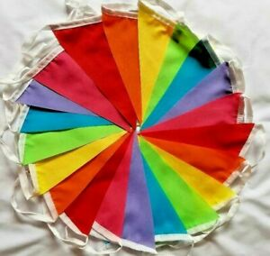 Fabric Bunting Party Bright handmade 20ft /21 flags Rainbow