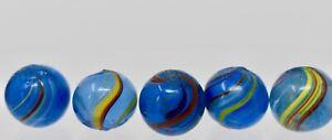 Vintage Antique German  Blue Glass Swirl marbles - lot of 5 - Lot M13