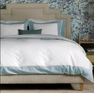 NEW $650 Dwell Studio MODERN BORDER Blue Mist F/Q Bedding Set DUVET SHAMS SHEETS