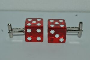 Cufflinks FABULOUS LAS VEGAS Casino Dice Red Dice Formal Shirt