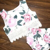 Baby Girl Floral Two Piece Outfit Lace Crochet Trim Pink Green White Size 6-9m