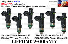 0280158005 NEW 6pc FUEL INJECTORS OEM Bosch fits 2004-2008 Nissan Maxima 3.5L V6