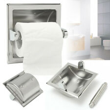 Recessed Toilet Paper Roll Holder Stand Tissue - Brushed Nickel Loaded Bath New