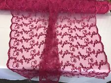 Fuchsia Metallic Floral Embroidery With Sequins And Cord On A Mesh-Sold By Yard.