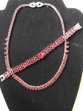 Vintage Ruby Rhinestone Kramer Necklace & Bracelet