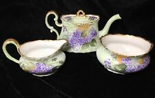 TRESSEMANES & VOGT - ANTIQUE T & V LIMOGES TEAPOT, CREAMER, SUGAR - ISSUES!