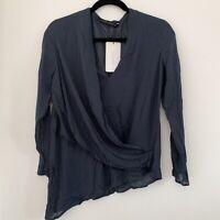 Zara Women's Blouse Chiffon Top Dark Blue Faux Wrap Small