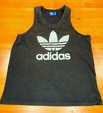 Men's Vintage Adidas Trefoil Logo Tank Top Beach Gym Black sz Large L