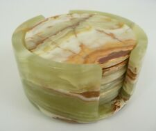 Solid Stone Green Onyx Set of 6 Round Drink Coasters in Matching Holder