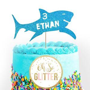 Customised Shark Cake Topper, Personalised Birthday cake custom any age name 1 2