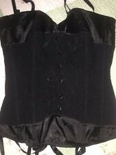 Frederick's of Hollywood Black Lace Up Boned Bustier Corset Size 34 Small