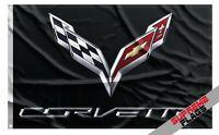 Corvette Flag Banner USA Chevrolet Black (3x5 ft)