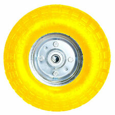 "10"" YELLOW SACK TRUCK TROLLEY SOLID RUBBER REPLACEMENT WHEEL TYRE STEEL RIM HAND"