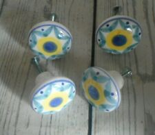 Vintage Four Blue White Yellow Ceramic Door Knobs Cabinet Drawer Pull Handles