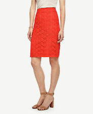 Ann Taylor - Petite 00P / PP Fiesta Orange Floral Lace Pencil Skirt $98 (D610)