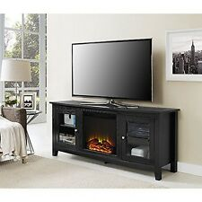 "WE Furniture 58"" Wood Fireplace TV Stand Console, Black New"