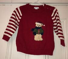 GREEN DOG Toddler Boys Red Striped Christmas Bear Sweater Sz 24m