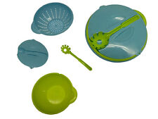 LARGE PASTA DISH SET - SALAD BOWL with LID and SERVER kitchen picnic bbq party