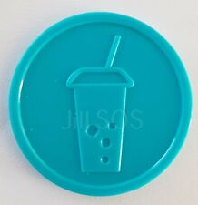 More details for plastic soft drink tokens turquoise embossed - bag of 100 - event party fete