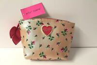 BETSEY JOHNSON ROSE GOLD FLORAL T-BOTTOM METALLIC CLAM POUCH BAG MAKEUP NWT