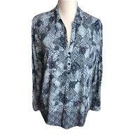 J Jill Womens Blouse 1/2 Button Down V-Neck Top  Long Sleeve Blue Floral Size L