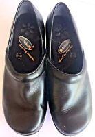 Dr Scholls Black Leather Womens Clogs Slip On Size 8 EUC