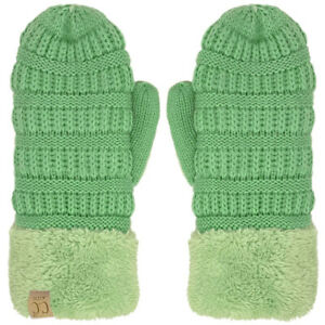 CC Kids Ages 4 to 7 Thick Fuzzy Fleeced Lined Matching Winter Mittens Gloves
