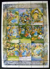 2001 MNH CONGO ALICE IN WONDERLAND STAMP SHEET OF 9 FAIRYTALE STAMPS