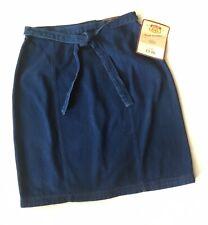 Vintage Route 66 Denim Jean Skirt Size 15 16 Wrap Belt Knee Length Mexico New