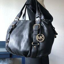 Michael Kors XL Blk Leather Lattington Satchel Shoulder Handbag Tote Grab Bag