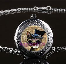 Steampunk Cat  Photo Glass Gun Black Chain Locket Pendant Necklace