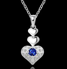 "2016 New 18"" Chain Silver Blue Sapphire Topaz Love Heart Pendant Necklace Gift"