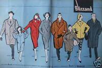 PUBLICITÉ DE PRESSE 1958 BLIZZAND TISSU GARANTI BOUSSAC - DESSIN GRUAU