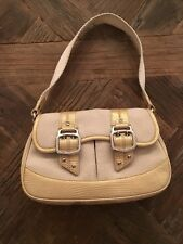 Cole Haan Gold  Reptile Leather and  Ivory Fabric Bag Purse