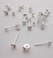 100PCS  Ear Pin Pairs 925 Sterling Silver Stud Earrings Findings Supplies Beads