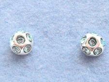 COPPIA DI ARGENTO STERLING (925) Tiny Aqua Blue Crystal Ball Orecchini