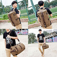 Canvas Travel Backpack Outdoor Camping Large Capacity Rucksack Shoulder Bag