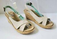 Crocs Womens A Leigh Linen Espadrille Wedge Sandals Size 6