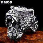 MENDEL Mens Nordic Viking Warrior Bear Head Ring Stainless Steel Men Size 8-15 photo