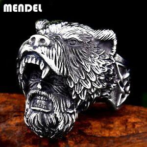 MENDEL Mens Nordic Viking Warrior Bear Head Ring Stainless Steel Men Size 8-15